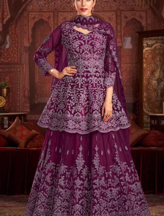Elegant Net Wine Pamplin Top and Skirt Set