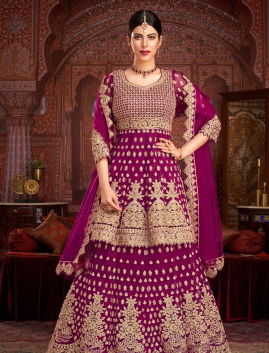 Elegant Net Rani pink Pamplin Top and Skirt Set