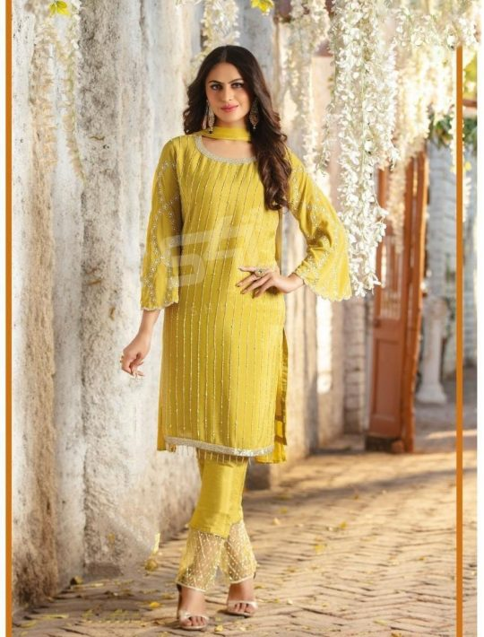 Refreshing Yellow Chiffon Kurti Pant Set